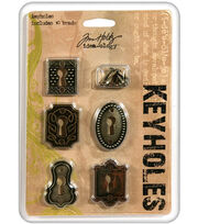 Tim Holtz Idea-Ology Keyholes Fasteners Antique Metallic, , hi-res
