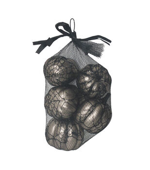 Maker's Halloween 8 pk Pumpkins in Lace Bag-Silver