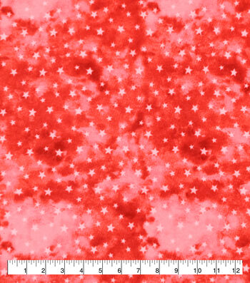 Snuggle Flannel Fabric-White Stars On Red Watercolor