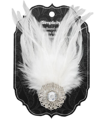 Hair Acc Jewel Feather White