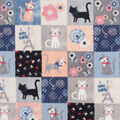 Anti-Pill Plush Fleece Fabric-Kitty Patchwork Coral