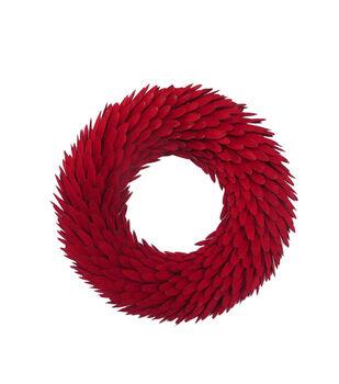 Handmade Holiday Christmas 17.91'' Glitter Woodchip Wreath-Red