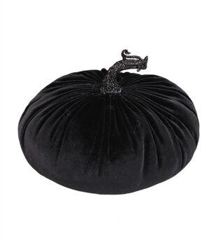 Maker's Halloween Medium Velvet Fashion Pumpkin-Black