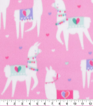 Valentine's Day Blizzard Fleece Fabric-Party Llamas 2