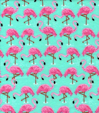 "Snuggle Flannel Fabric 42""-Flamingos in Water"