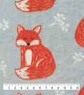 Anti-Pill Plush Fleece Fabric-Pretty Fox On Gray