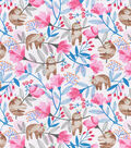 Snuggle Flannel Fabric-Hanging Floral Sloth