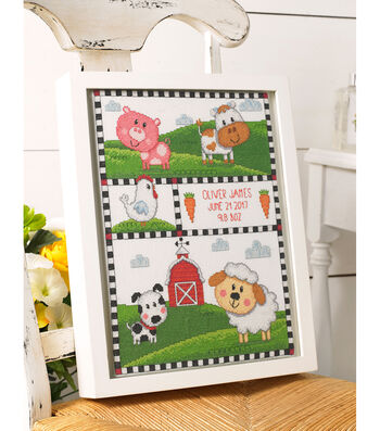 "Bucilla Counted Cross Stitch Kit 10.5""X13.25""-Farm Animals Record"