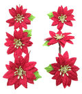 Blooming Holiday Christmas 6 pk Poinsettia Blossoms-Red