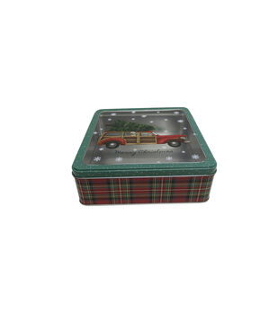 Handmade Holiday Christmas Large Square Cookie Tin with Clear Top-Truck