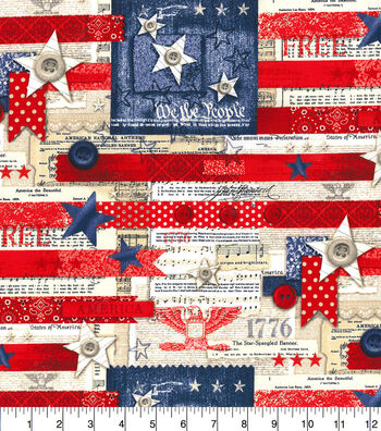 Patriotic Cotton Fabric-Heart of America