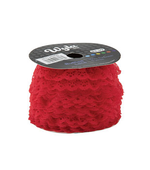 Wyla Colored Ruffled Lace-Ribbon Red 170