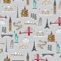 Novelty Cotton Fabric-World Travel On Gray