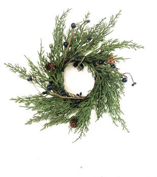 Handmade Holiday 10'' Cypress, Pinecone & Blue Berry DIY Wreath