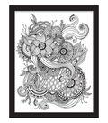 11x14 Color In Floral Tattoo Float Frame-Black