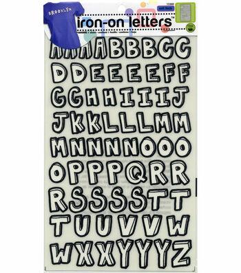Dritz Folk Letter Hand Script Iron-On Black White