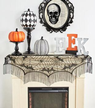 Maker's Halloween 60''x22'' Lace Mantel Scarf-Bats