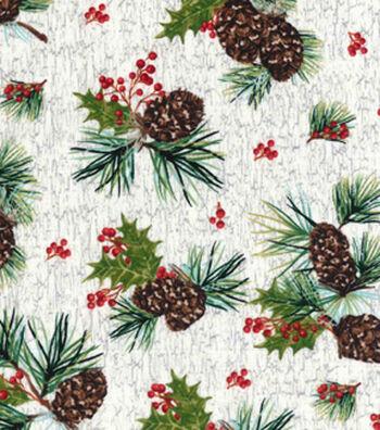 Christmas Print Fabric 43''-Pinecone on White Wood Grain