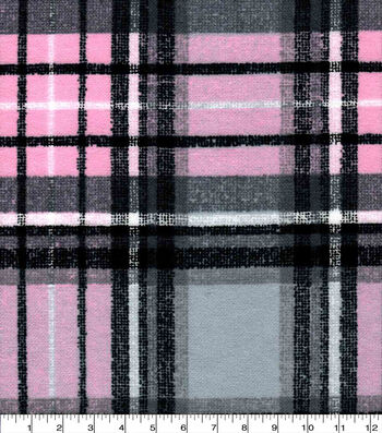 Snuggle Flannel Fabric-Pink & Gray Distressed Plaid