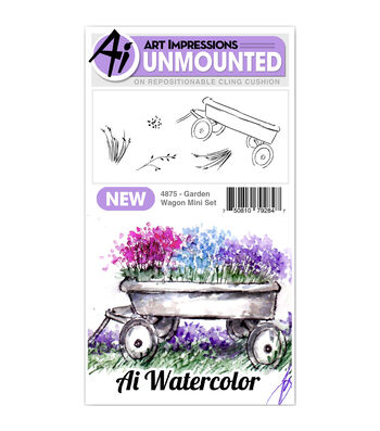 Art Impressions 5 pk Cling Rubber Stamps-Watercolor Mini Garden Wagon