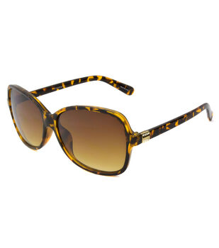Two-toned Sunglasses with Square Frame-Brown & Gold