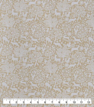Snuggle Flannel Fabric-Packed Floral & Animals on Neutral