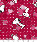 Valentine\u0027s Day Print Fabric -Red Peanuts Valentine