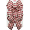 Handmade Holiday Christmas 2 pk Bows-Red & Ivory Plaid