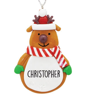Handmade Holiday Christmas Reindeer Ornament with Personalized Name