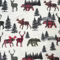 Anti-Pill Plush Fleece Fabric-Everest Plaid Animals in Line