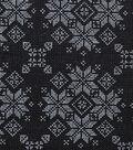 Christmas Cotton Fabric-Fair Isle Sweater on Black
