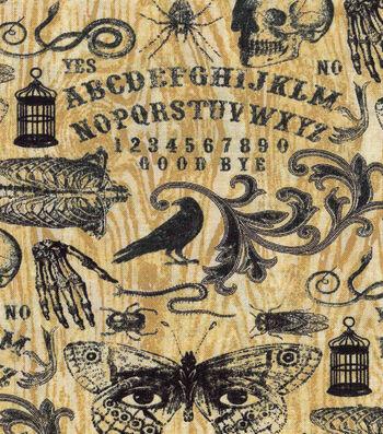 Halloween Cotton Fabric-Cream Ouija Board