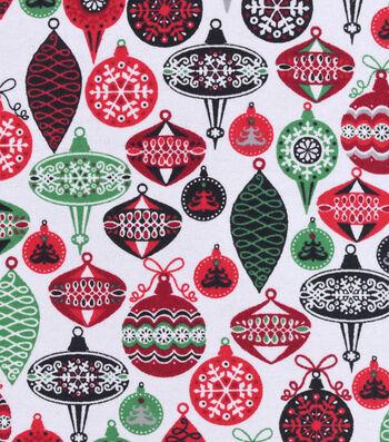 "Snuggle Flannel Fabric 42""-Colorful Ornaments"