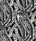 Knit Apparel Fabric-White Eucalyptus on Black