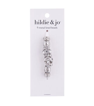 hildie & jo Mix & Mingle Metal Lined Glass Beads-Silver