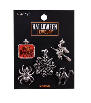 hildie & jo Halloween Jewelry 5 pk Metal Charms-Black