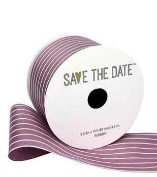 """Save the Date 2.5"""" x 15ft Ribbon-Mauve White Stripe"""