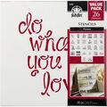 FolkArt 12\u0027\u0027x12\u0027\u0027 Stencil Value Pack-Phrases