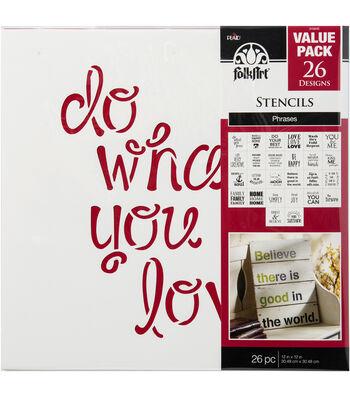 FolkArt 12''x12'' Stencil Value Pack-Phrases