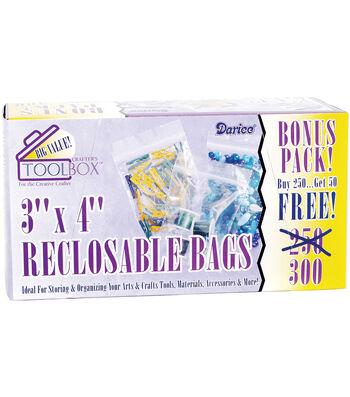 "Reclosable Plastic Bags 3""X4"" 300/Pkg"