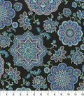 Premium Cotton Fabric-Purple and Teal Medallions