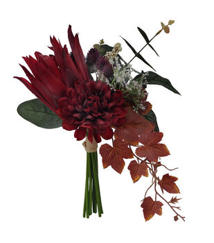 Blooming Autumn Marigold Maple Leaves Bouquet Deep Red