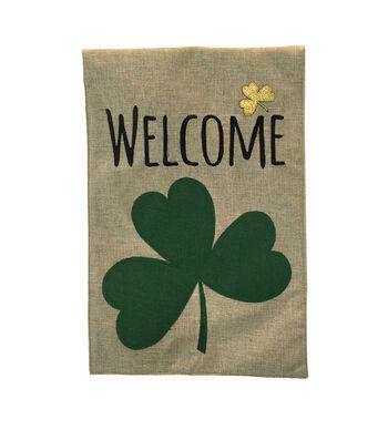 St. Patrick's Day Burlap Flag-Welcome & Shamrock