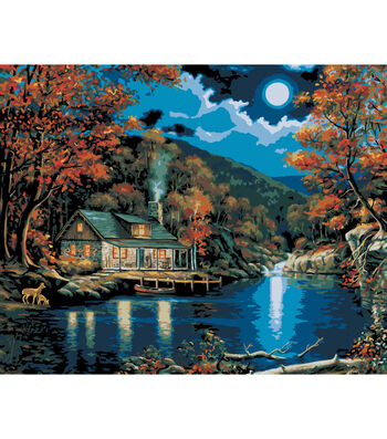 "Plaid Paint By Number Kit 16""x20"" Lakeside Cabin"