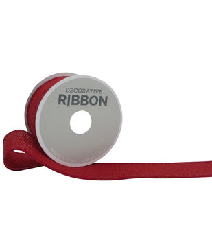 "Decorative Ribbon 1.5"" Solid Burlap Ribbon-Red"