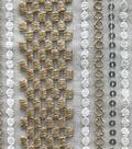 Lace Knit Fabric 56\u0022-Ivory & Champ Stripe