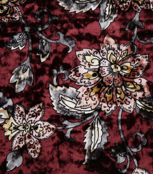 "Stretch Panne Velour Fabric 58""-Burgundy Fold Floral"
