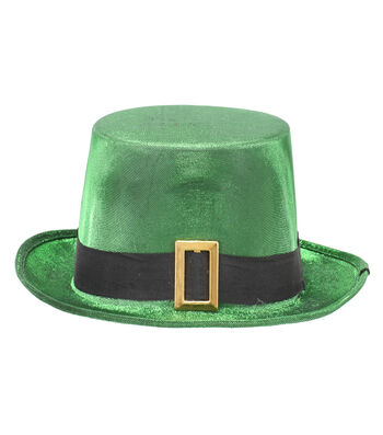 St. Patrick's Day Decor Shimmer Top Hat with Black Band & Gold Buckle