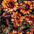 Snuggle Flannel Fabric -Sunflowers & Butterflies