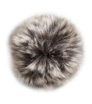 Bergere De France Synthetic Fur Pom Pom 15cm-Gray Flecked, , hi-res